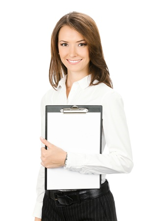 Happy smiling beautiful young business woman showing blank clipboard, isolated over white background photo