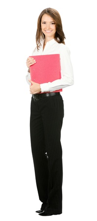 Full body of happy smiling business woman with red folder, isolated over white background photo