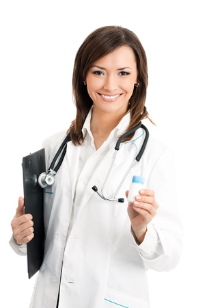Portrait of happy smiling young  female doctor with medical drug, isolated over white background photo