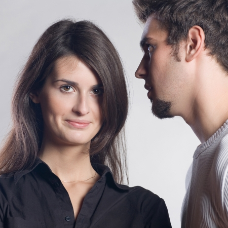 Portrait of young attractive happy amorous couple photo