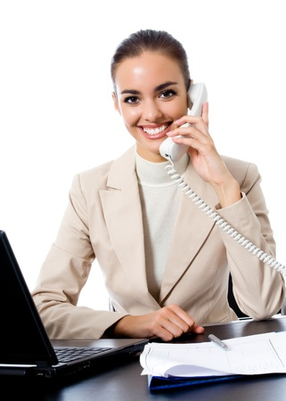 Business woman working with phone at office, isolated over white background photo