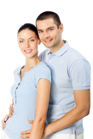 Portrait of young happy smiling attractive couple, isolated over white background photo