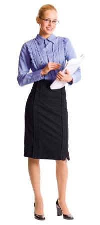 body writing: Full body portrait of young happy smiling business woman with documents, isolated over white background