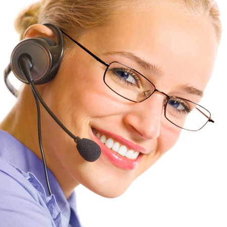 Portrait of happy smiling cheerful beautiful young customer support phone operator in headset, isolated over white background photo