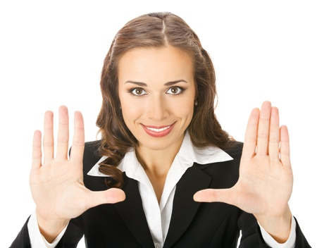 woman stop: Happy smiling young business woman showing stop gesture, isolated over white background