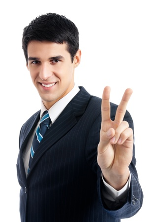 2 persons only: Happy smiling young business man showing two fingers or victory gesture, isolated over white background