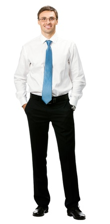 1 man only: Full body portrait of young happy smiling cheerful business man, over white background
