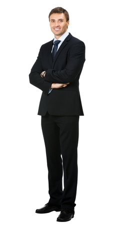 only young men: Full body portrait of young happy smiling cheerful business man, over white background