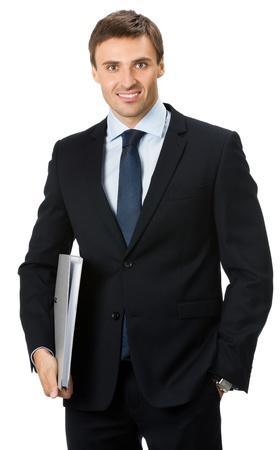 whitebackground: Portrait of happy smiling business man with gray folder, isolated over white background Stock Photo