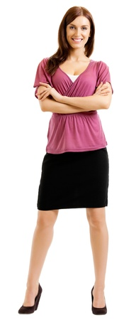 woman full body: Full body of cheerful beautiful business woman, isolated over white background