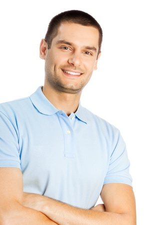 25 to 30: Cheerful young man, isolated over white background Stock Photo