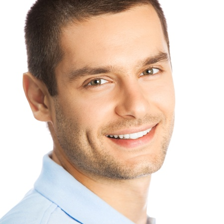 Cheerful young man, isolated over white background photo