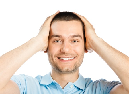 good feeling: Portrait of young man with shocked facial expression, isolated over white background Stock Photo