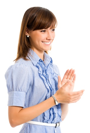 congratulating: Cheerful clapping business woman, isolated over white background Stock Photo
