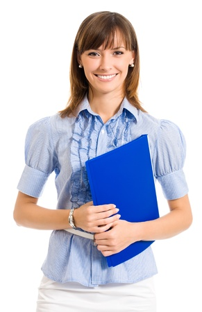 teacher: Cheerful smiling young business woman with blue folder, isolated over white background