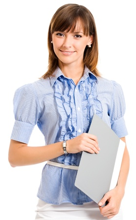 Cheerful smiling young business woman with grey folder, isolated over white background photo