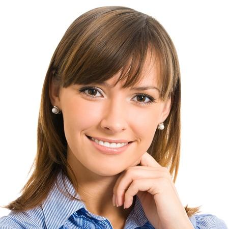 egy fiatal nő csak a: Vidám, mosolygós, üzletasszony, elszigetelt fölött fehér háttér
