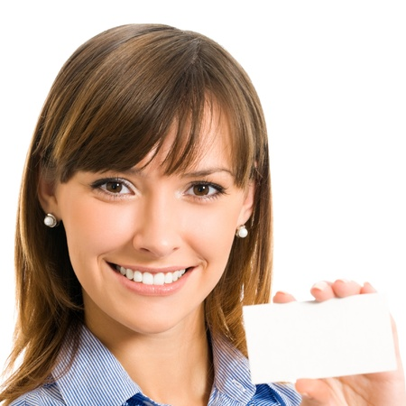 business invitation: Cheerful business woman with blank business or plastic card, isolated over white backround Stock Photo