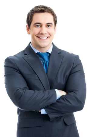1 man only: Portrait of happy smiling businessman, isolated over white background Stock Photo