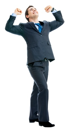 Full body of very happy successful gesturing business man, isolated over white background photo