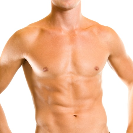 male torso: Close up of muscular male torso, isolated over white background Stock Photo