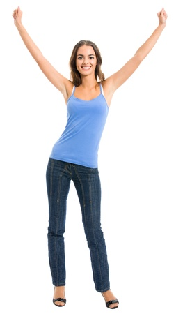 Full body portrait of happy gesturing cheerful smiling woman, isolated over white background photo