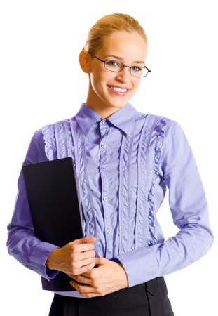 Portrait of happy smiling business woman with black folder, isolated over white background Stock Photo - 15959798