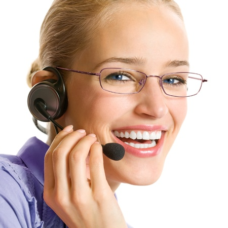 Portrait of happy smiling cheerful beautiful young customer support phone operator in headset, isolated over white background Stock Photo - 15959783