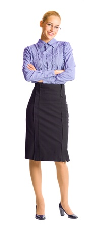 Full body portrait of young happy smiling business woman, isolated over white background photo