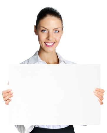 blank area: Cheerful business woman showing blank signboard, isolated over white background