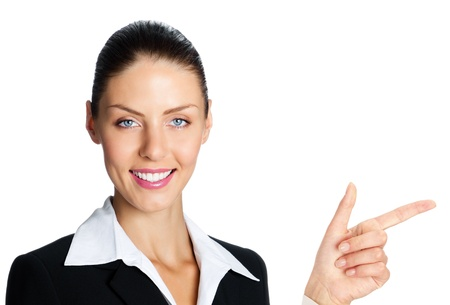 copyspase: Cheerful business woman showing blank area for sign or copyspase, isolated over white background