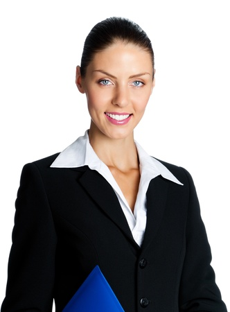 Cheerful smiling young business woman with blue folder, isolated over white background photo