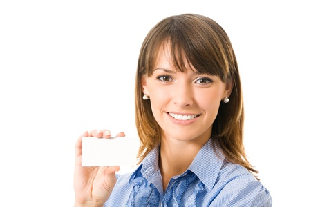 Happy smiling business woman with blank business card, isolated on white backround Stock Photo - 16499364