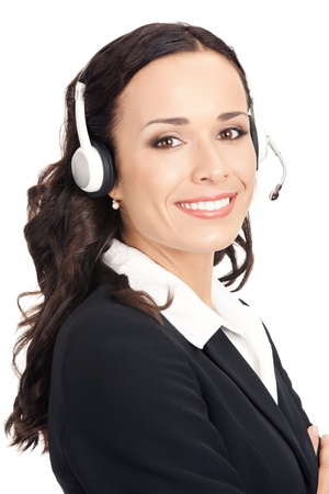 Portrait of happy smiling cheerful beautiful young support phone operator in headset, isolated over white background Stock Photo - 16543838