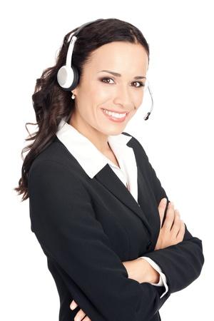 Retrato de feliz sonriente alegre hermosa joven operador de teléfono de soporte en auriculares, aislados sobre fondo blanco Foto de archivo