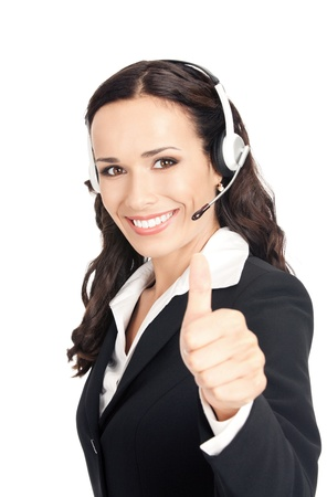 up service: Portrait of happy smiling cheerful customer support phone operator in headset showing thumbs up gesture, isolated over white background Stock Photo