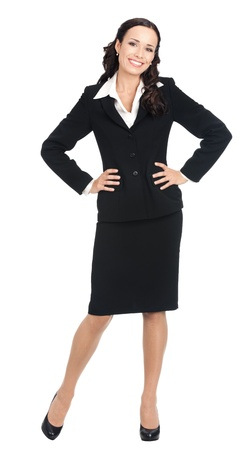 Full body portrait of happy smiling young business woman in black suit, isolated over white background photo