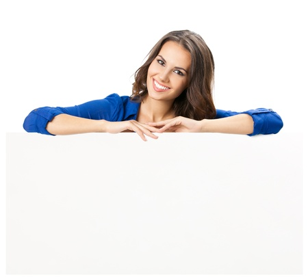 holding blank sign: Happy smiling beautiful young woman showing blank signboard or copyspace, isolated over white background