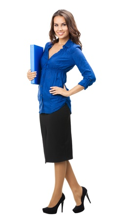 brokers: Full body portrait of happy smiling business woman with blue folder, isolated over white background