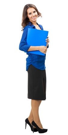 Full body portrait of happy smiling business woman with blue folder, isolated over white background photo