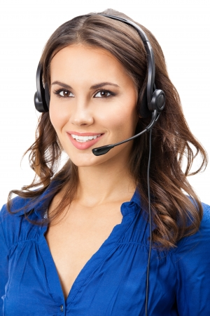 Portrait of happy smiling cheerful beautiful young support phone operator in headset, isolated over white background Stock Photo - 16674412