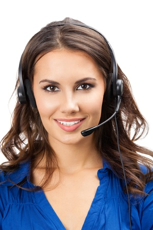 Portrait of happy smiling cheerful beautiful young support phone operator in headset, isolated over white background Stock Photo - 16674386
