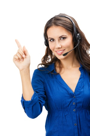 Portrait of happy smiling cheerful beautiful young support phone operator showing; isolated over white background Stock Photo - 16674378