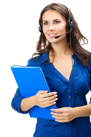 sales call: Portrait of happy smiling cheerful beautiful young support phone operator in headset with blue folder, isolated over white background Stock Photo