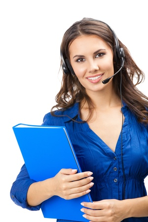 telephone headsets: Portrait of happy smiling cheerful beautiful young support phone operator in headset with blue folder, isolated over white background Stock Photo