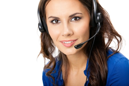 phone operator: Portrait of happy smiling cheerful beautiful young support phone operator in headset, isolated over white background