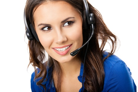 Portrait of happy smiling cheerful beautiful young support phone operator in headset, isolated over white background Stock Photo - 16674383