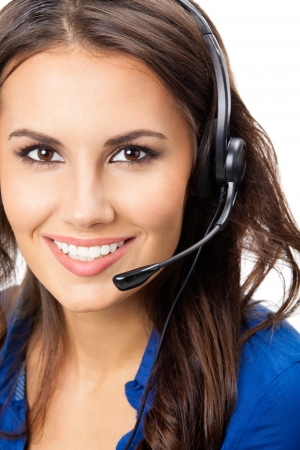 Portrait of happy smiling cheerful beautiful young support phone operator in headset, isolated over white background Stock Photo - 16674388