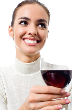 Portrait of happy smiling young attractive woman with glass of red wine, isolated on white background photo