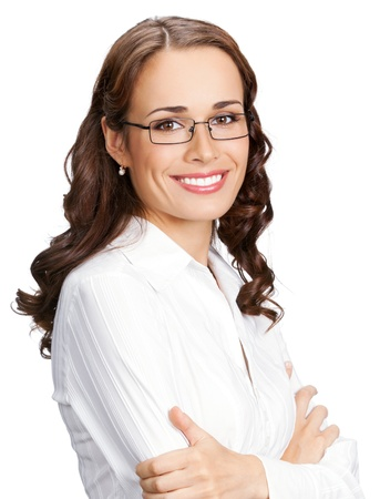Portrait of happy smiling business woman in glasses, isolated over white background Stock Photo - 17165510